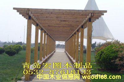 青岛防腐木景观长廊,防腐木木花架
