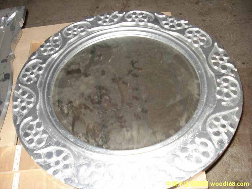 银箔雕花圆镜