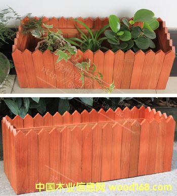 进口实木阳台花箱花盆 木栅栏花槽 原木种植菜盆苏州加工制作