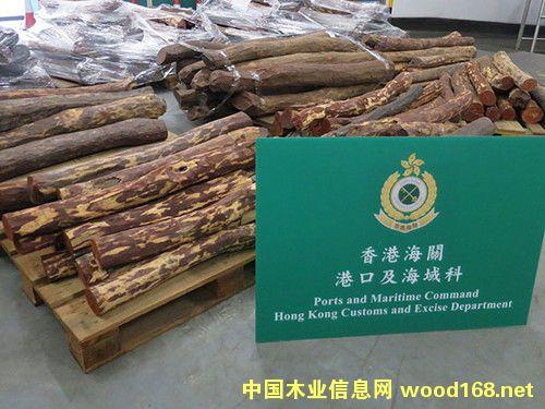 香港海关截获走私紫檀木材 总值约570万港元