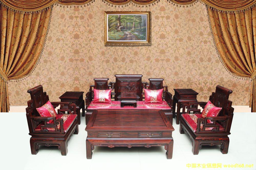 红木黑酸枝沙发七件套