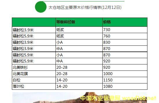 太仓木材市场辐射松原木价格行情表