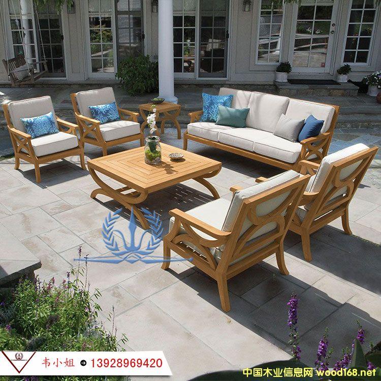 柚木家具 室外防腐休闲沙发组合 户外别墅花园庭院全实木三人沙