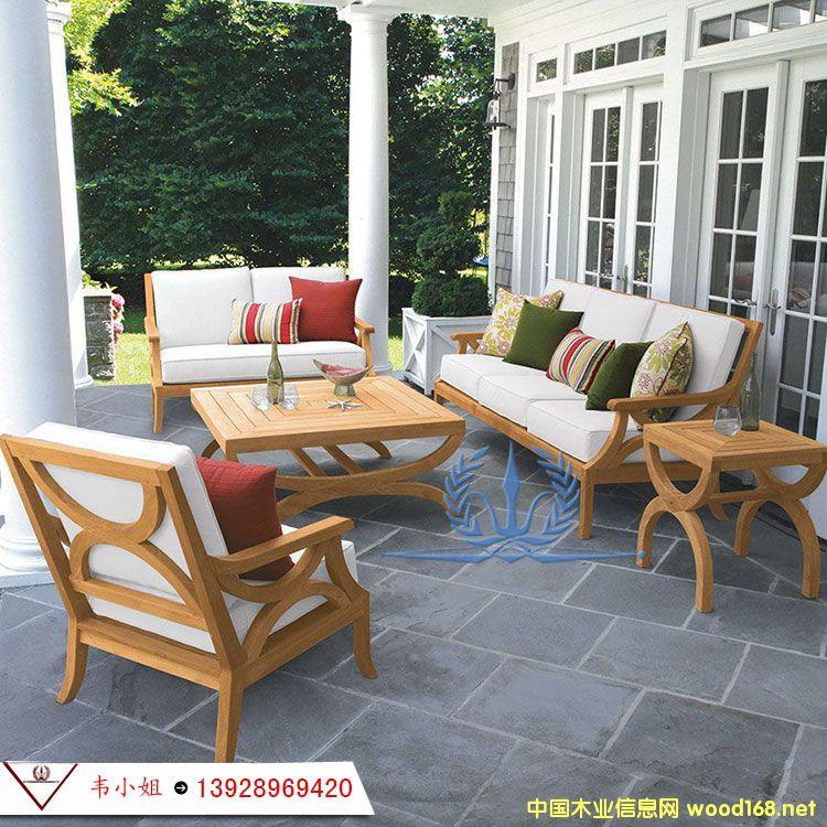 室外露天三人沙发 庭院实木茶几休闲沙发 户外防腐家具组合