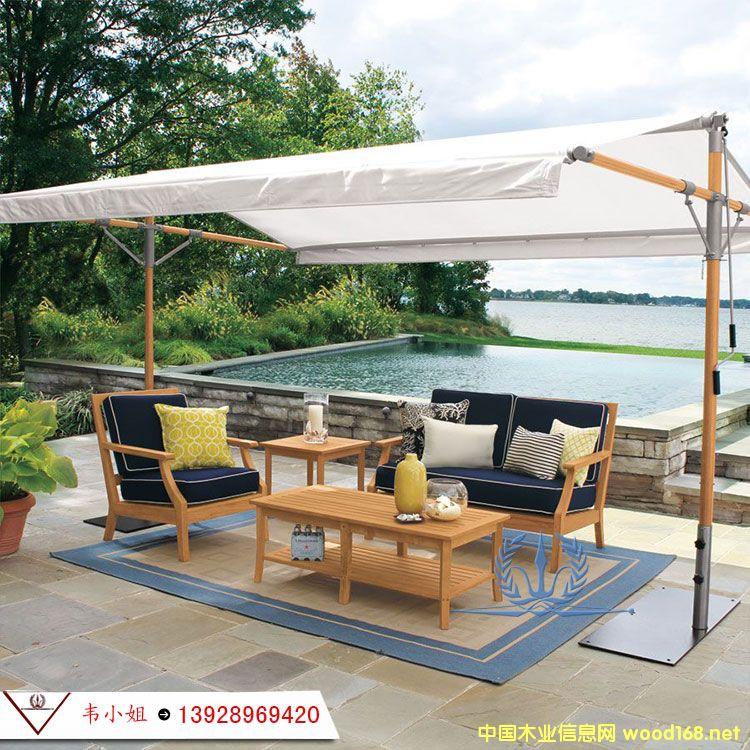 户外防腐实木双人单人自由组合沙发 别墅花园庭院休闲家具