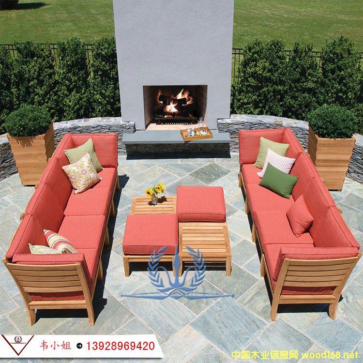 防腐实木家具 庭院 高档实木沙发 菠萝格实木沙发组合户外家具