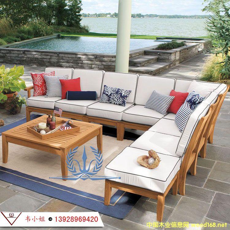 户外实木家具定制 纯实木菠萝格别墅庭院沙发户外休闲沙发组合