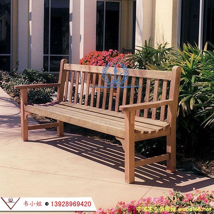 实木公园椅 户外阳台椅庭院花园长凳子休闲靠背椅 室内外防腐家