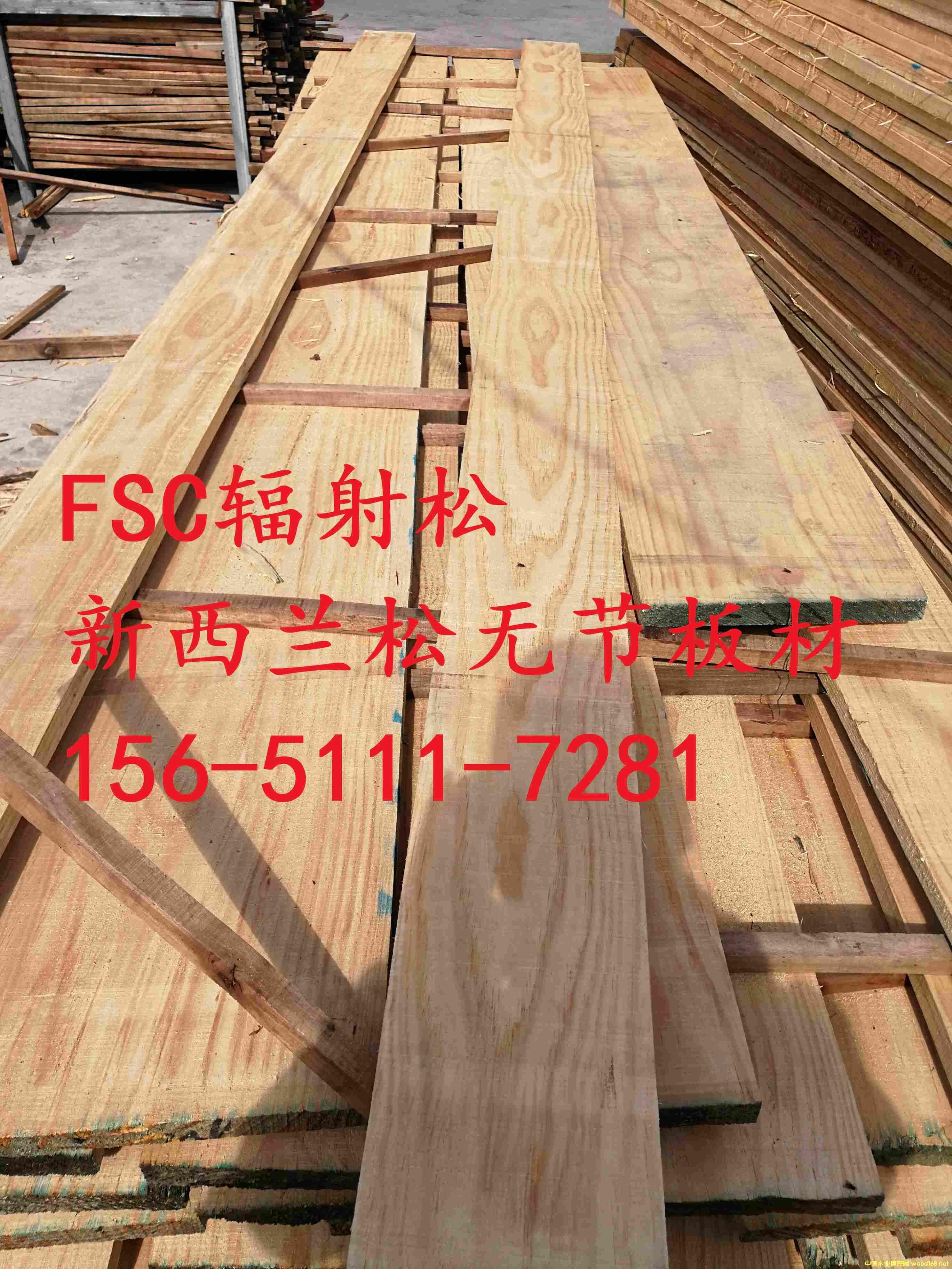 上海、太仓供应FSC辐射松、新西兰松无节板材