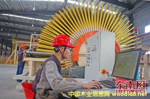 全球首条薄型竹刨花板生产线在福人集团邵武木业试生产