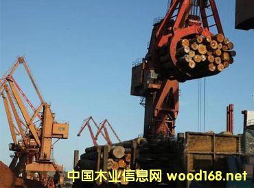 山东蓬莱港原木卸船效率再创新高